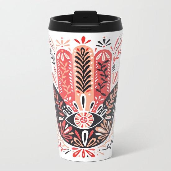 Hamsa Hand – Red & Black Palette Metal Travel Mug
