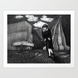 Odeon - charcoal drawing Art Print