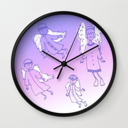 Doodle christmas angels Wall Clock