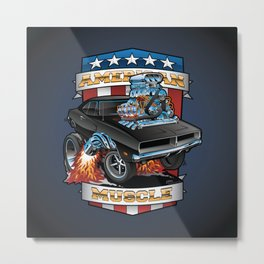 American Muscle Patriotic Classic Muscle Car Cartoon Illustration Metal Print