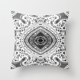 Black and White Mandala Pattern Throw Pillow