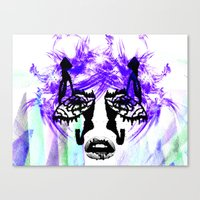her art Canvas Prints featuring Her by Aaron Galaxy