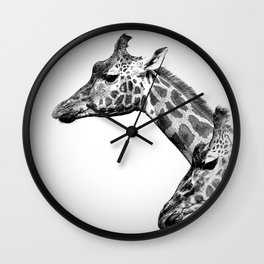 Giraffes Black And White Wall Clock