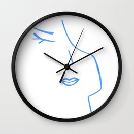 Pastel Blue Elegant Feminine Woman Kind Minimalist Line Drawing Faces Wall Clock