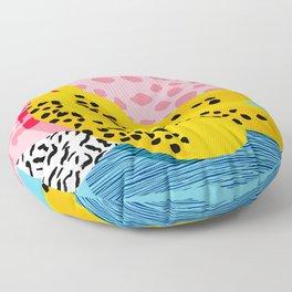 What It Is - memphis throwback banana fruit retro minimal pattern neon bright 1980s 80s style art Floor Pillow