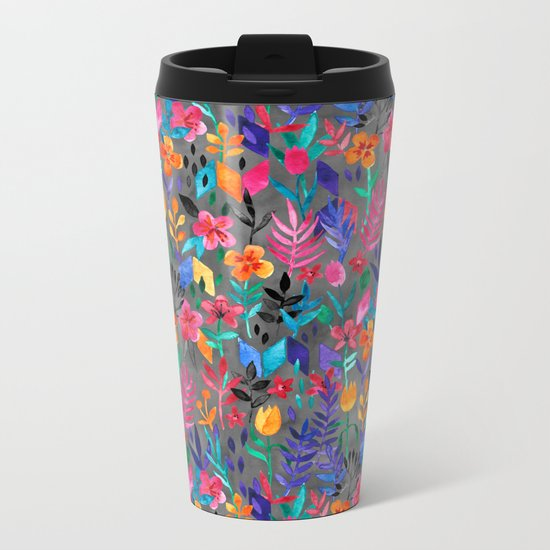 Popping Color Painted Floral on Grey Metal Travel Mug