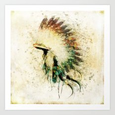 Native American Boho Headdress Sideview Art Print