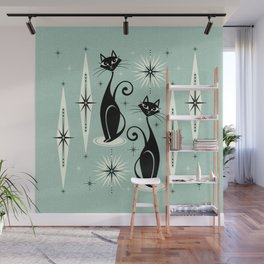 Mid Century Meow Retro Atomic Cats Mint Wall Mural
