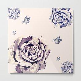 Fleurs et Papillons Metal Print