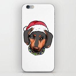 Dachshund Dog Christmas Hat Present iPhone Skin