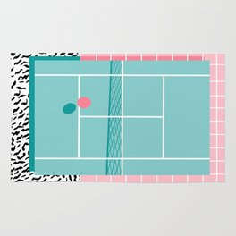 Baller - tennis sports retro pastel palm springs vacation athlete full court memphis style throwback Rug