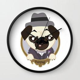 Great Detective Poirpug. Poirot the Pug Wall Clock