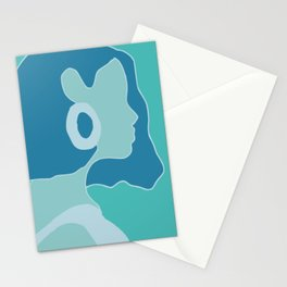 Blue portrait silhouette Stationery Cards