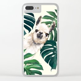 Sneaky Llama with Monstera Clear iPhone Case