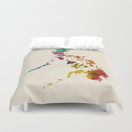 Philippines Watercolor Map Duvet Cover