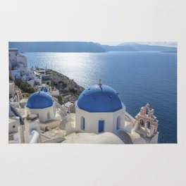 Santorini Island with churches and sea view in Greece Rug