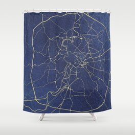 Rome Blue and Gold Street Map Shower Curtain