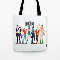 aquaman Tote Bags featuring the rocking league by Andres Moncayo