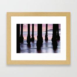 Ocean Pier Silhouettes - California Sunset Framed Art Print