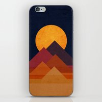 budi iPhone & iPod Skins featuring Full moon and pyramid by Picomodi