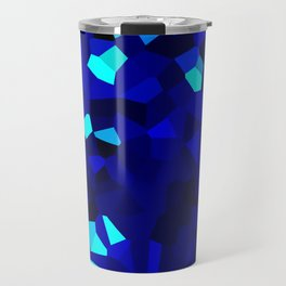 Dark Navy Blue Abstract Shape Stained Glass Travel Mug