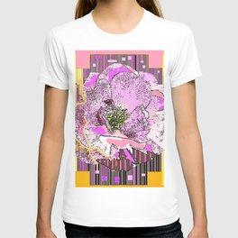 CosmicGolden Yellow-Pink-Grey Graphic Rose Design T-shirt