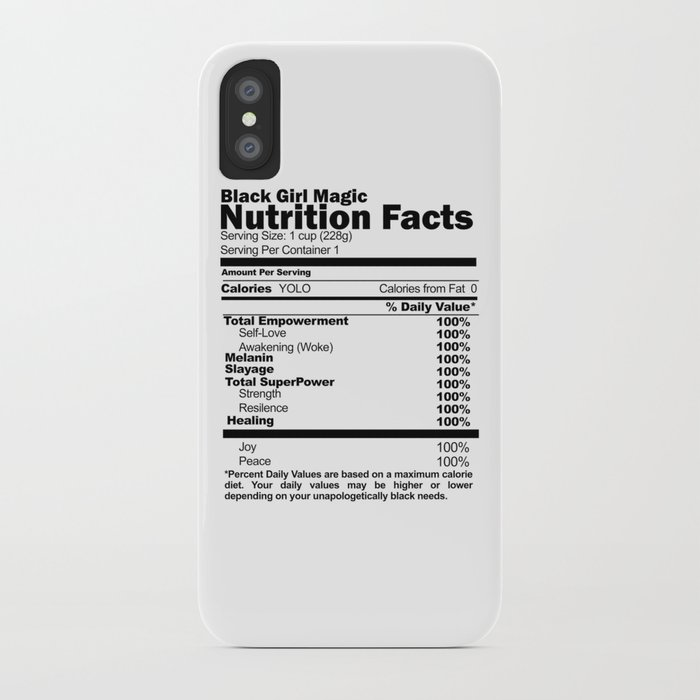 competitive price 38b30 f3a98 Black Girl Magic Nutrition Facts iPhone Case by alegnaart