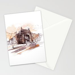 Art Nouveau building / watercolor and ink. Stationery Cards