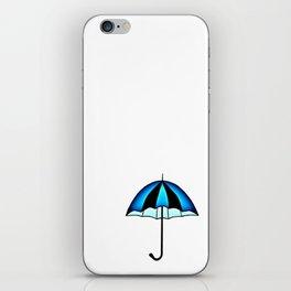Bright Blue Black Rain Umbrella Illustration iPhone Skin