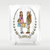 moonrise kingdom Shower Curtains featuring Moonrise Kingdom  by Dueling Doodlers