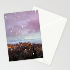 Snowing in the Alhambra, Granada, Spain at sunset Stationery Cards