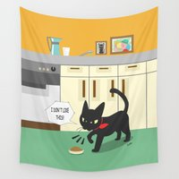 kitchen Wall Tapestries featuring In the kitchen by BATKEI (Keiko W)
