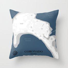 Coronado Map Throw Pillow