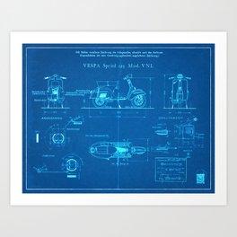 Motor Scooter Patent - Blueprint Style Art Print