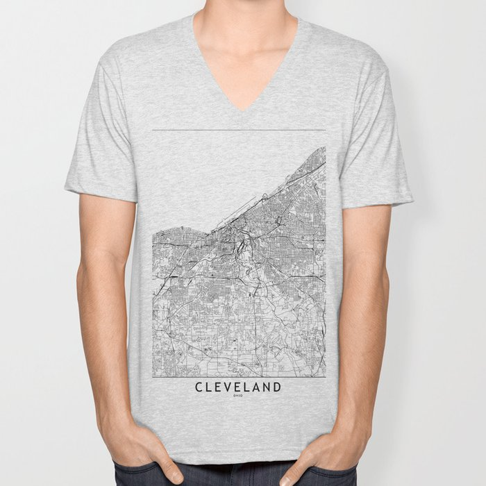 Cleveland White Map Unisex V-Neck