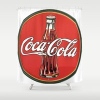 coke Shower Curtains featuring Vintage Coke-Cola by dreamshade