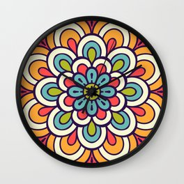 Mandala, Colorful Abstract Flower Wall Clock