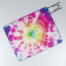 Tie-Dye Sunburst Rainbow Picnic Blanket