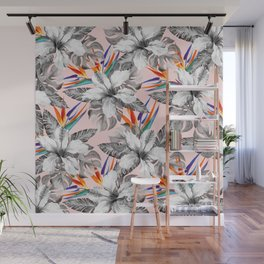 Monochrome tropic floral Wall Mural