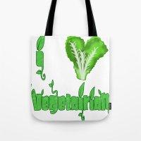 vegetarian Tote Bags featuring i love vegetarian by Adiel Azrai
