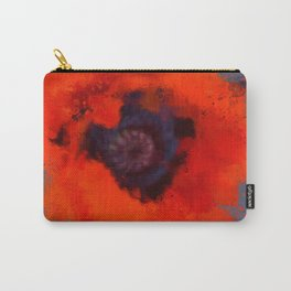 Red Poppy Painting Blue Gray Background Carry-All Pouch