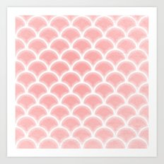 Abstract glowing rose quartz scallop pattern Art Print