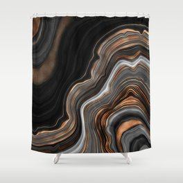 Glowing Marble Waves  Shower Curtain