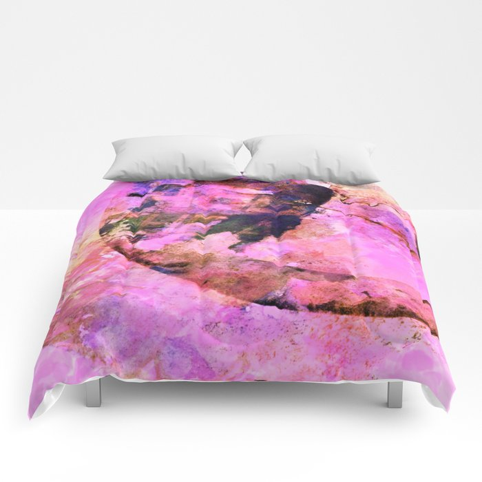 abstract floral in pink Comforters