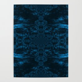 Blue Wood Paisley Poster