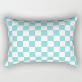 Gingham Pale Turquoise Checked Pattern Rectangular Pillow