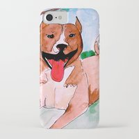 pit bull iPhone & iPod Cases featuring Pit Bull by Caballos of Colour