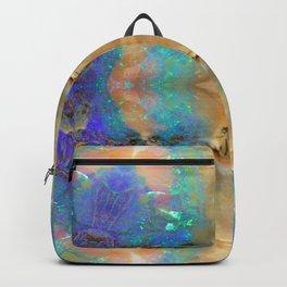 Aquamarine Opal Gemstone Marble Rock Mineral Pattern Backpack