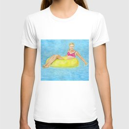 The girl in the pool T-shirt