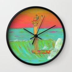 Hang 10 Retro Surf Dude Longboard Surf Wall Clock